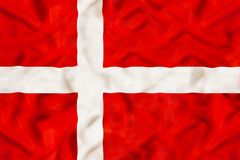 Denmark national flag with waving fabric. Denmark country independent state national flag banner close-up with waving fabric texture Royalty Free Stock Image