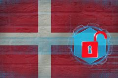 Denmark network unprotected. Digital protection concept. royalty free illustration