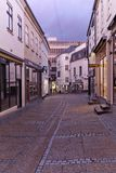 Denmark - October, 18. 2014: Ancient Danish street in Århus - Sankt Clemens Stræde. City landscape design stock photo