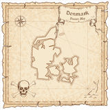 Denmark old pirate map. Royalty Free Stock Photos