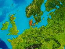 Denmark on physical map Stock Photography
