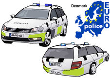 Denmark Police Car. Colored Illustration from Series Europol, Vector Royalty Free Stock Image