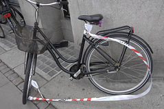 DENMARK_police ha sigillato il bycycle Immagine Stock