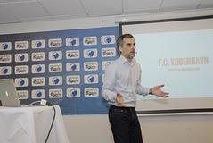 DENMARK_press-Konferenz Stockbild