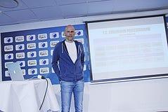 DENMARK_press-Konferenz Lizenzfreie Stockfotos