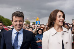 Denmark Prince Frederik and Princess Mary. Szczecin, Poland - Mai 14, 2014: Denmark Prince Frederik and Princess Mary, visit in Poland. Both happy and smilling Stock Images