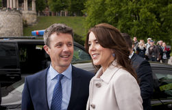 Denmark Prince Frederik and Princess Mary visit Polan. SZCZECIN, POLAND - MAY 14, 2014: Denmark Prince Frederik and Princess Mary, during press conference in Stock Photos