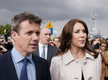 Denmark Prince Frederik and Princess Mary visit Poland. SZCZECIN, POLAND - MAY 14, 2014: Denmark Prince Frederik and Princess Mary, during press conference in Royalty Free Stock Photos