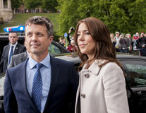 Denmark Prince Frederik and Princess Mary visit Poland. SZCZECIN, POLAND - MAY 14, 2014: Denmark Prince Frederik and Princess Mary, during press conference in Stock Photography