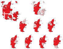 Denmark provinces maps Royalty Free Stock Photos