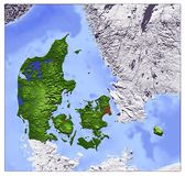 Denmark, relief map. Shaded Relief Map of Denmark, seen from above Stock Image