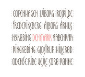 Denmark s Cities Lettering. Lettering set of Denmark s main cities names in Nordic art deco style. Vector illustration Royalty Free Stock Image