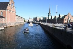 DENMARK`S WEATHER_SUN SHINE BOAT CRUSING TOURISTS. Copenhagen/Denmark 25.May 2018_ Foreign and local tourists enjoy boat canal crusing in Copenhagen  canal in Royalty Free Stock Photography