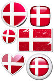 Denmark - Set of stickers and buttons. Glossy and colorful stickers with reflection set Stock Photo