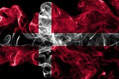 Denmark smoke flag on a black background.  stock photos