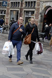 DENMARK_STEER FASHION. COPENHAGEN /DENMARK- Shoppers and street fashion  footwears and cloths and winter coats        14 April 2014  (Photo by Francis  Dean/ Stock Image