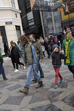 DENMARK_STEER FASHION. COPENHAGEN /DENMARK- Shoppers and street fashion  footwears and cloths and winter coats        14 April 2014  (Photo by Francis  Dean/ Royalty Free Stock Photography