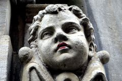Denmark: stone head of boy detail Royalty Free Stock Images