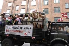 DENMARK_students celebra Fotografia Stock