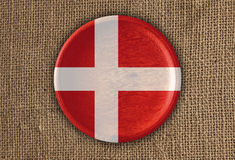 Denmark Textured Round Flag wood on rough cloth. High Resolution Royalty Free Stock Image