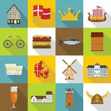 Denmark travel icons set, flat style Stock Photos