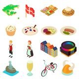 Denmark travel icons set, isometric style. Denmark travel icons set. Isometric illustration of 16 Denmark travel vector icons for web Royalty Free Stock Photography