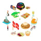 Denmark travel icons set, isometric style. Denmark travel icons set. Isometric illustration of 16 Denmark travel vector icons for web Stock Images