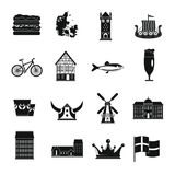 Denmark travel icons set, simple style. Denmark travel icons set. Simple illustration of 16 Denmark travel vector icons for web Royalty Free Stock Photo
