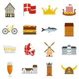 Denmark travel icons set vector flat. Denmark travel icons set. Flat illustration of 16 Denmark travel vector icons isolated on white background Stock Illustration