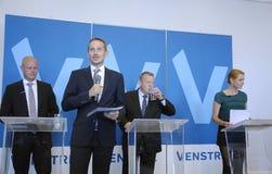 DENMARK_VENSTRE-LIBERAL党预算聚焦 免版税库存图片