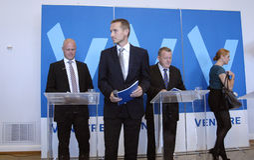 DENMARK_VENSTRE-LIBERAL przyjęcia budżeta główna atrakcja Zdjęcie Royalty Free