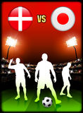 Denmark versus Japan on Stadium Event Background Royalty Free Stock Images