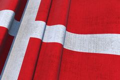 Denmark Waving Canvas Flag Stock Image