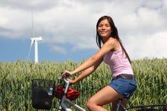 Denmark Woman biking Royalty Free Stock Photos