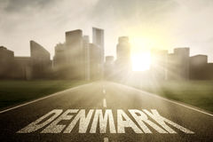 Denmark word with empty road Stock Image