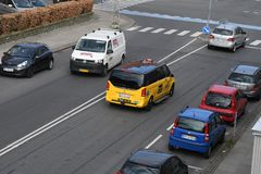 Denmarks black adn yellow taxi cas Kastrup Copenhagen. Copenhagen /Denmark./ 10 April 2019/ .Deenamrks black and yellow 4x27 tax cab in Kastrup Copenhagen royalty free stock photo