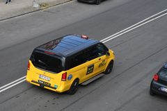 Denmarks black adn yellow taxi cas Kastrup Copenhagen. Copenhagen /Denmark./ 10 April 2019/ .Deenamrks black and yellow 4x27 tax cab in Kastrup Copenhagen royalty free stock image