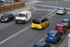 Denmarks black adn yellow taxi cas Kastrup Copenhagen. Copenhagen /Denmark./ 10 April 2019/ .Deenamrks black and yellow 4x27 tax cab in Kastrup Copenhagen stock image