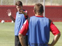 Denmarks Michael Laudrup soccer coach giving instructions. Denmark former soccer player and coach Michael Laudrup gestures during a training session in Mallorca Royalty Free Stock Photos