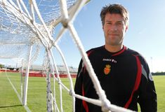 Denmarks Michael Laudrup soccer coach pose. Denmark former soccer player and coach Michael Laudrup gestures during a training session in Mallorca, on the Spanish Stock Image