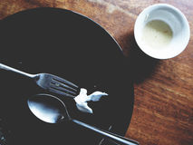 Denna är den tomma plattan, efter du avslutade sig har ätit Royaltyfri Foto