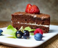 Denna är en läcker chokladpralinkaka, med nya jordgubbar, svarta vinbär och blåbär På en försiktig brun bakgrund arkivbilder