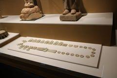 Denna är en prydnad som göras i forntida Kina med jade arkivbilder