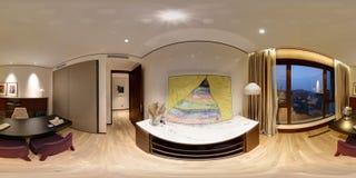 Denna är endekorerad lägenhet med en 360 grad panoramautsikt arkivbild