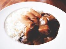 Denna är kareraisucurry över ris i den vita plattan ovanför trä Royaltyfri Bild