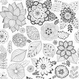 Denna är mappen av formatet EPS8 Färgrik sömlös botanisk textur, detaljerade blommaillustrationer Alla beståndsdelar kantjusteras royaltyfri illustrationer