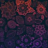 Denna är mappen av formatet EPS8 Färgrik sömlös botanisk textur, detaljerade blommaillustrationer Alla beståndsdelar kantjusteras stock illustrationer