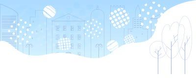 Denna är mappen av formatet EPS10 Moderna översiktshus, staket, träd Mall för fantasistadbakgrund royaltyfri illustrationer