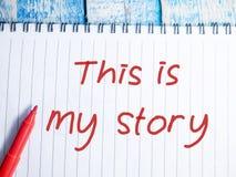 Denna är min berättelse, Motivational inspirerande citationstecken royaltyfri bild