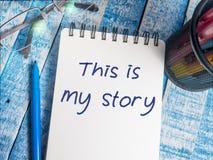 Denna är min berättelse, Motivational inspirerande citationstecken royaltyfri foto